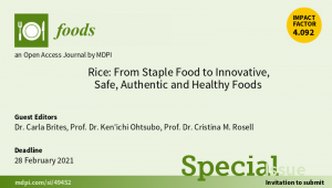 Deadline for manuscript submissions in Foods Special Issues was postponed