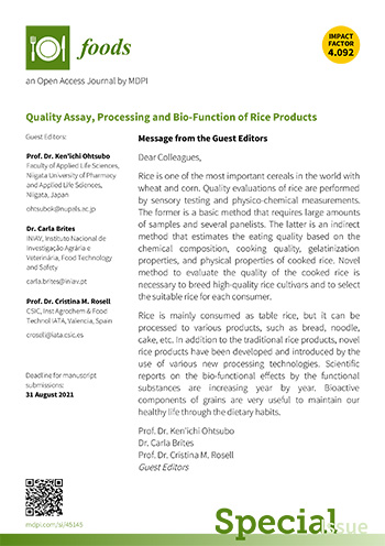 Flyer - Quality Assay, Processing and Bio-Function of Rice Products